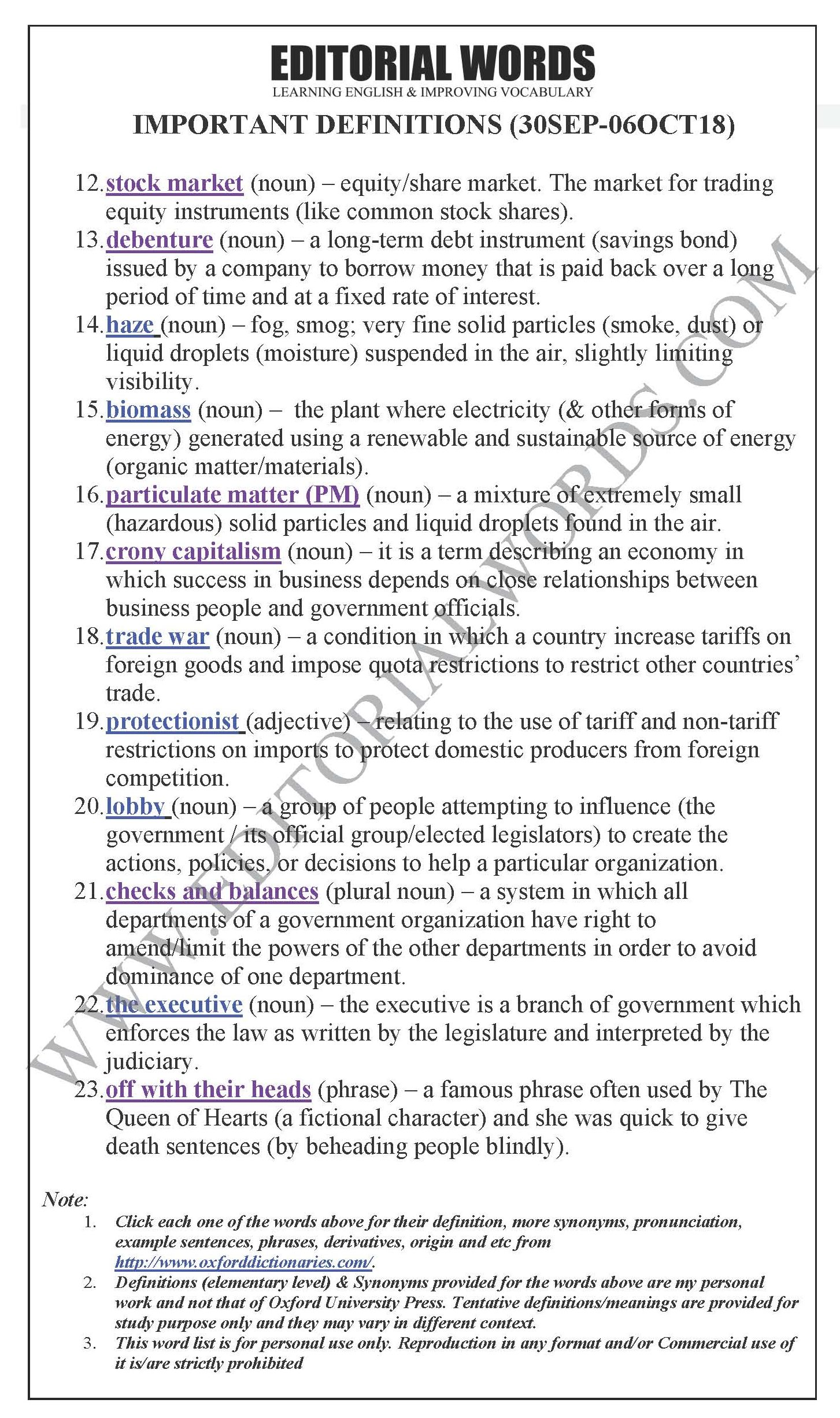 """""""Important Definitions"""" We Learnt Last Week (Sep 30-Oct 06, 2018)"""
