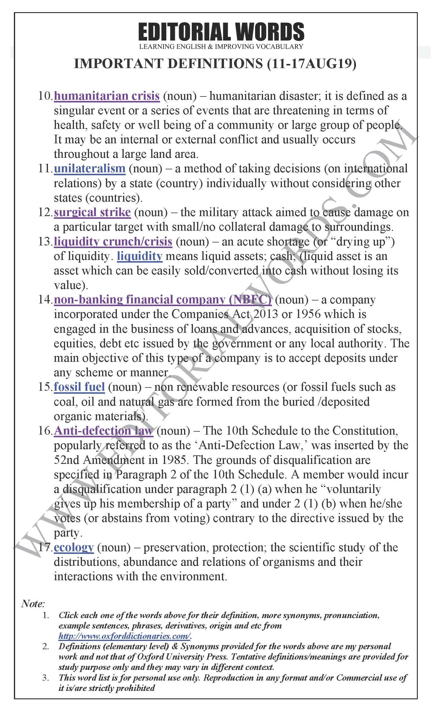 """""""Important Definitions"""" We Learnt Last Week (Aug 11-17, 2019)"""