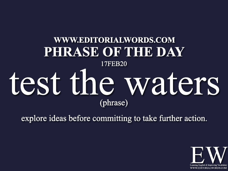 Phrase of the Day (test the waters) -17FEB20