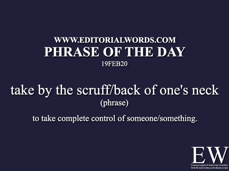 Phrase of the Day (take by the scruff/back of one's neck) -19FEB20
