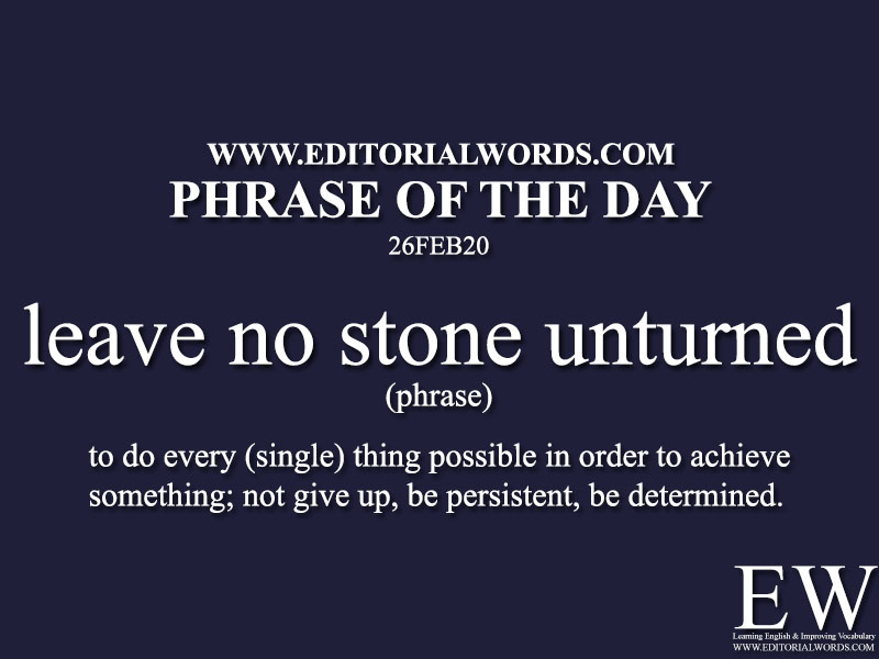 Phrase of the Day (leave no stone unturned)-26FEB20