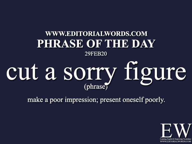 Phrase of the Day (cut a sorry figure)-29FEB20