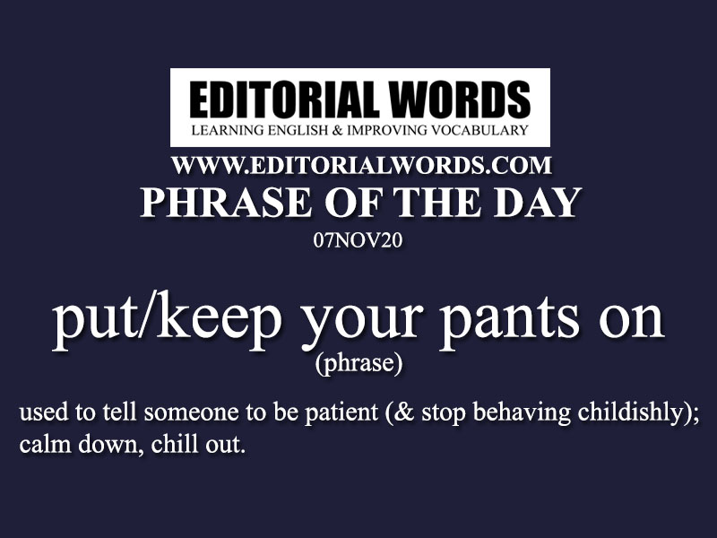 Phrase of the Day (put/keep your pants on)-07NOV20