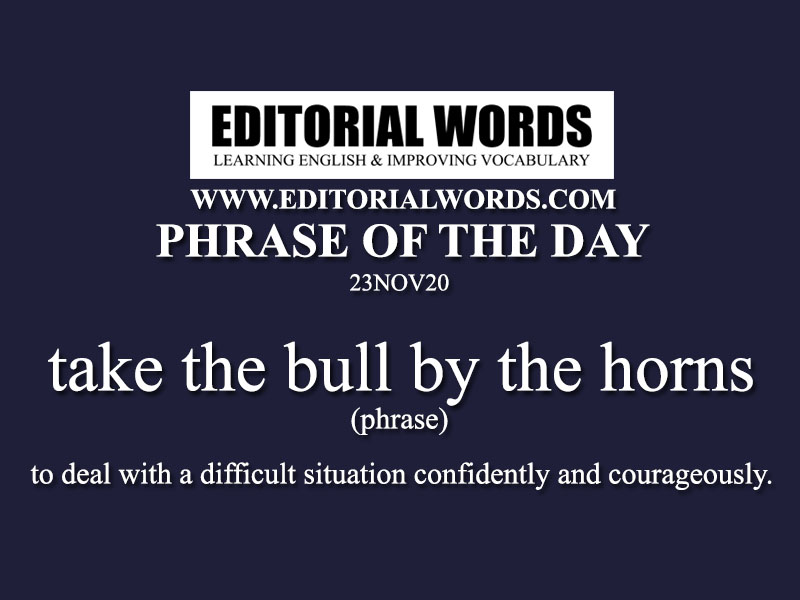 Phrase of the Day (take the bull by the horns)-23NOV20