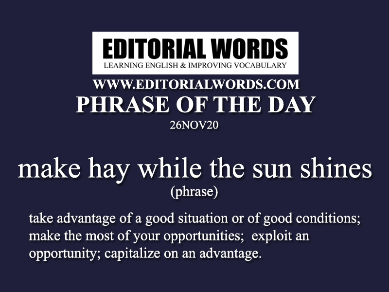 Phrase of the Day (make hay while the sun shines)-26NOV20