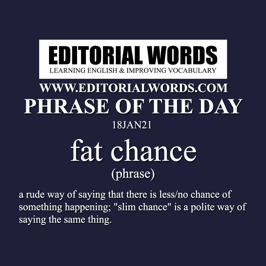Phrase of the Day (fat chance)-18JAN21