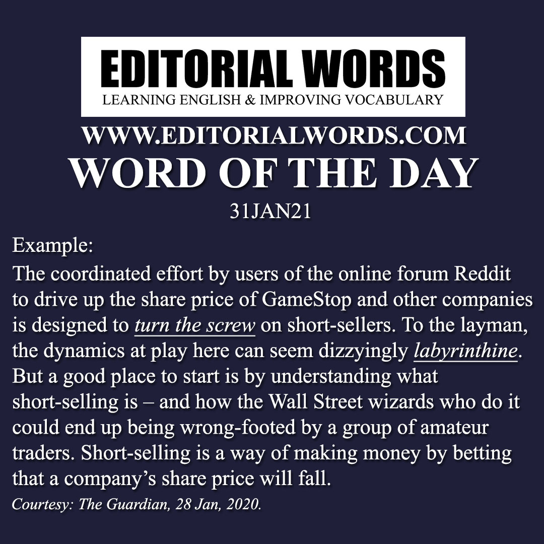 Word of the Day (labyrinthine)-31JAN21