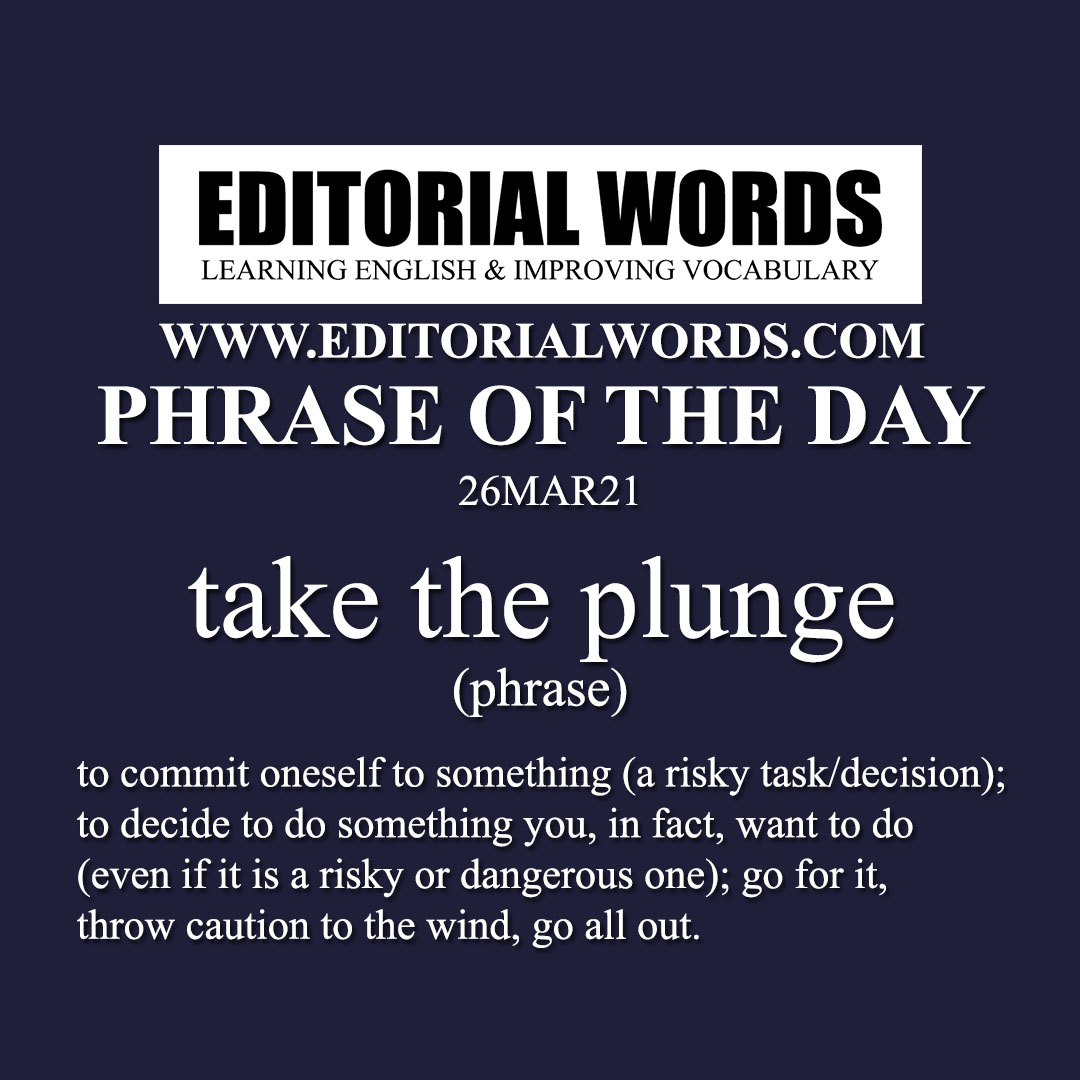 Phrase of the Day (take the plunge)-26MAR21