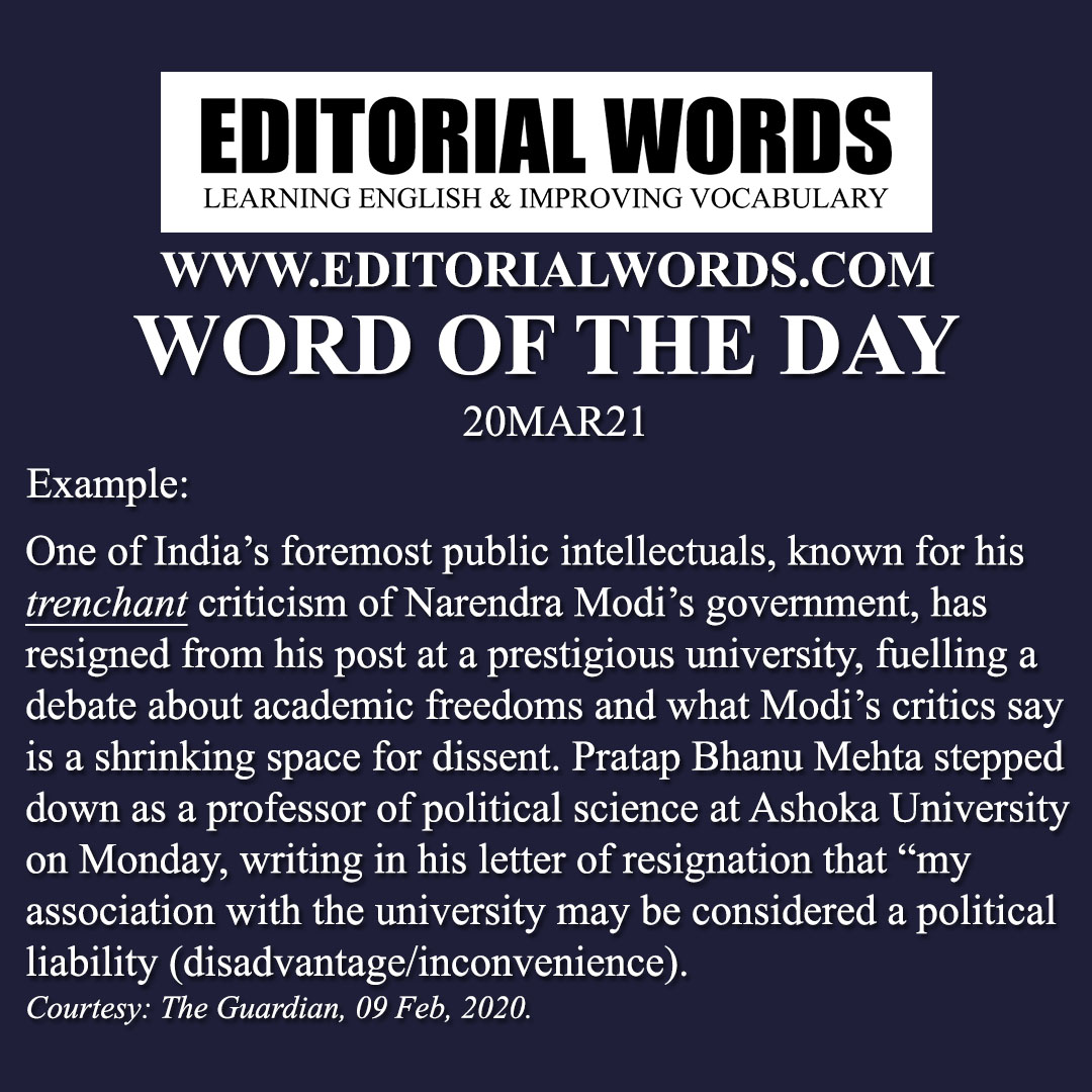 Word of the Day (trenchant)-20MAR21