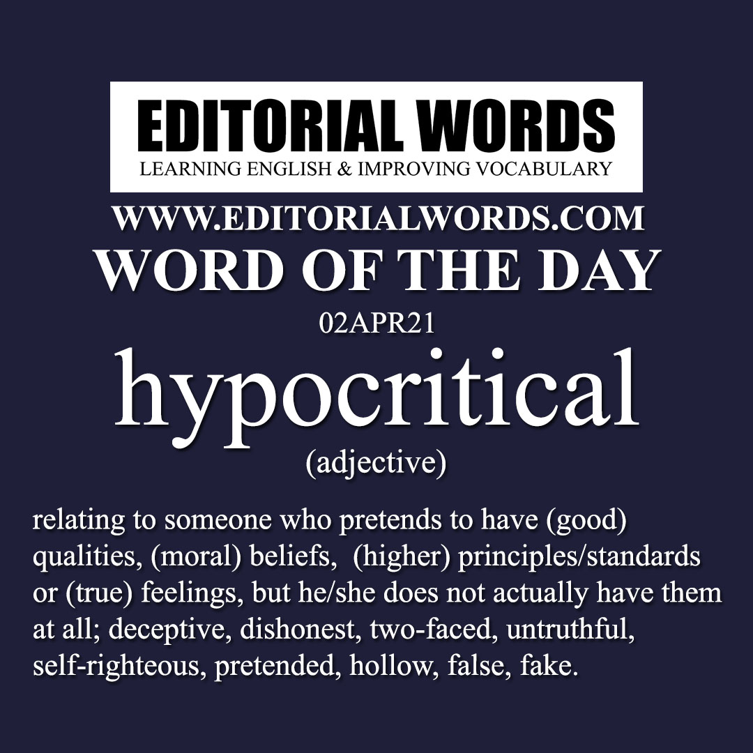Word of the Day (hypocritical)-02APR21
