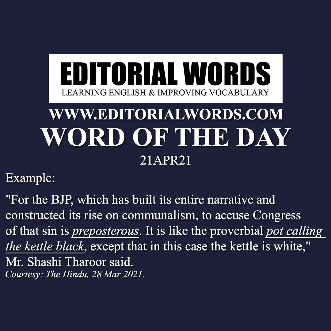 Word of the Day (preposterous)-21APR21