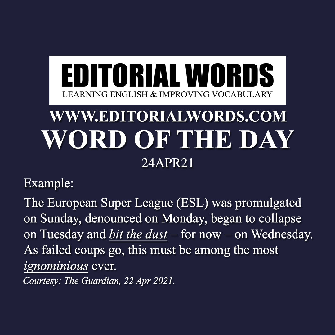 Word of the Day (ignominious)-24APR21