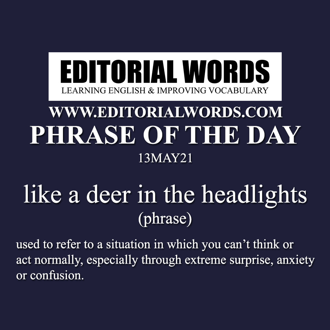 Phrase of the Day (like a deer in the headlights)-13MAY21
