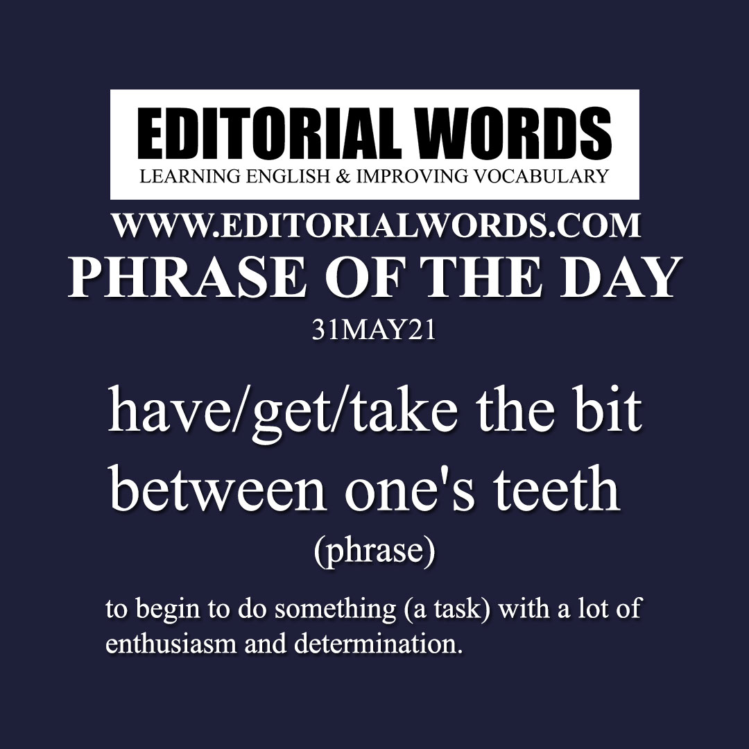 Phrase of the Day (have/get/take the bit between one's teeth)-31MAY21