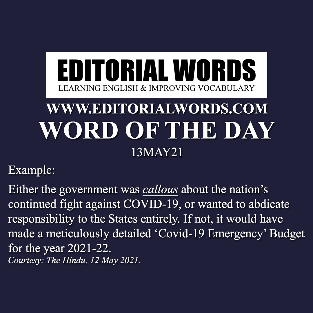 Word of the Day (callous)-13MAY21