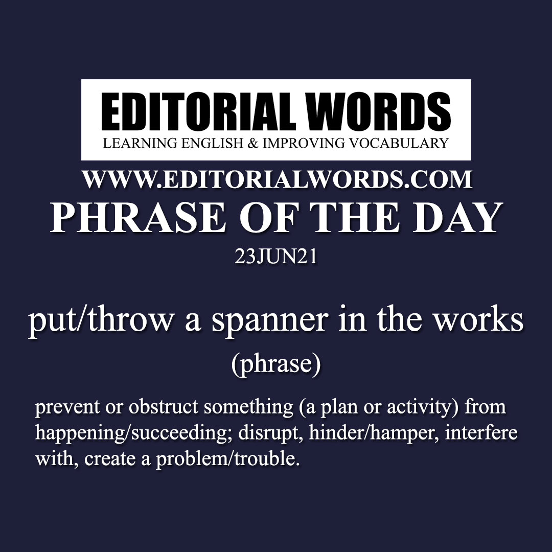 Phrase of the Day (put/throw a spanner in the works)-23JUN21