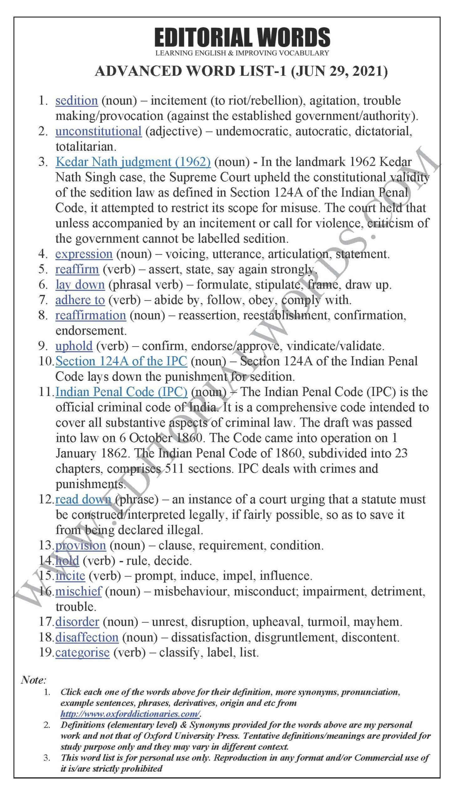 The Hindu Lead Article (The law of sedition is unconstitutional)  – Jun 29, 2021