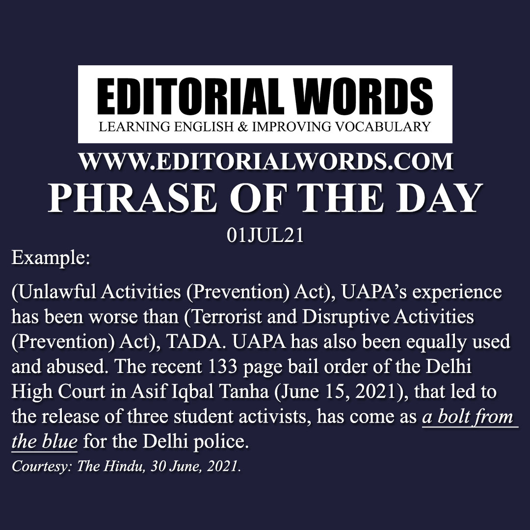 Phrase of the Day (a bolt from the blue)-01JUL21